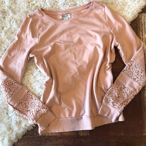 Lucky Brand | Pink Lace Inset Crewneck Sweatshirt